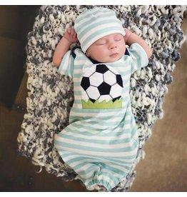 Haute Baby Aqua Striped Soccer Gown 0-3M