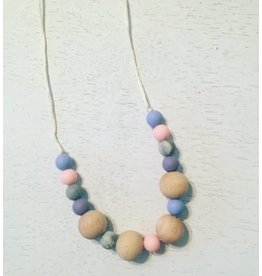 three hearts Mixed Berry and Dark Marble Teething Necklace