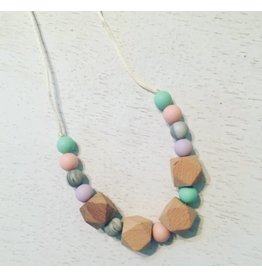 three hearts Lavender and Mint Silicone Teething Necklace