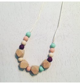 three hearts Mint Wine Silicone Teething Necklace