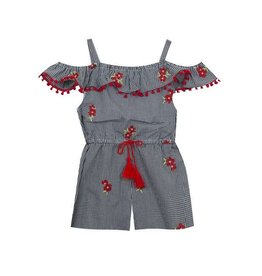 Rare Editions Red Flower Embroidered Gingham Tassel Romper