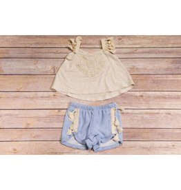 Mini Mini Oatmeal Floral Tassel Swing and Shorts