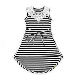 Black and White Striped Lace Dress