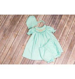 Mom & Me Aqua Petals Smocked Dress & Bonnet