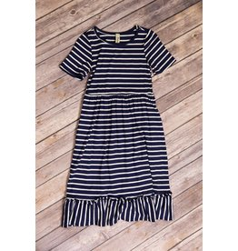 Pomelo Navy Stripe Dress