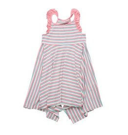 Sweet Bamboo Pink/Aqua Stripe Emma's Racer Back Dress