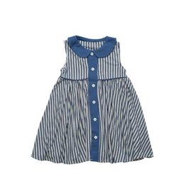 Sweet Bamboo Nautical Stripe Swing Dress with Lapel