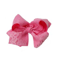 "Reflectionz Pink 6"" Lace Bow"