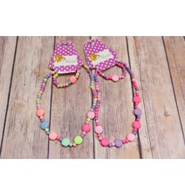 Lil Miss Accessories Wild Pink Berry Necklace and Bracelet