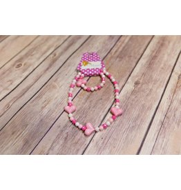 Lil Miss Accessories Pink Heart Necklace Set