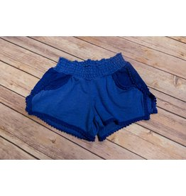Paper Flower Blue Crochet Garment Shorts