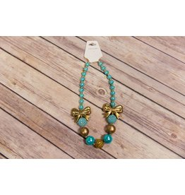 Teal and Gold Double Bow Chunky Necklace