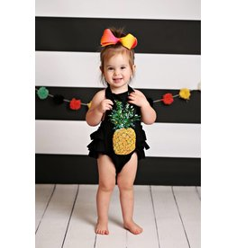f9b8b43ce26 Black with Sequins Pineapple Ruffle Romper
