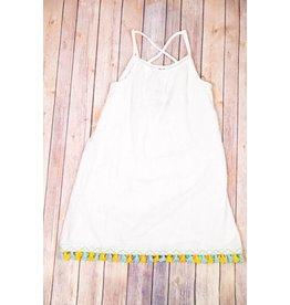 PP LA Ivory Aurora Woven Tassel Tank Dress