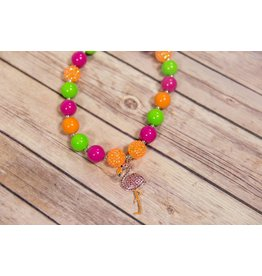 Neon Flamingo Chunky Necklace