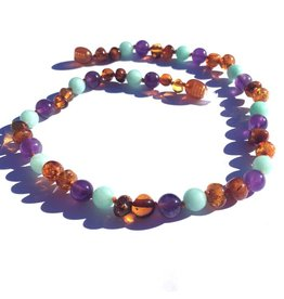 Momma Goose Bluebell - Baltic Amber, Amazonite, & Amethyst