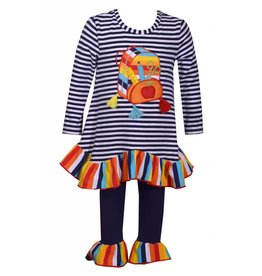 Bonnie Jean Backpack Striped Rainbow Tunic And Legging Set