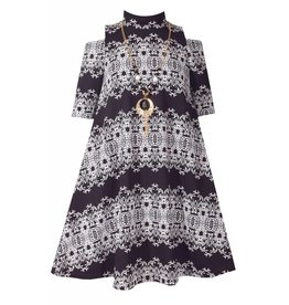 Bonnie Jean Black And White Damask Printed Dress