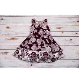 Bonnie Jean Burgundy and Silver Floral Dress