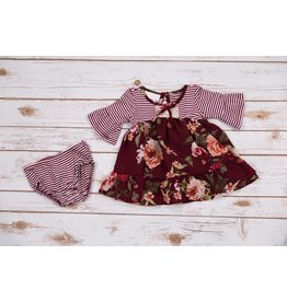 Bonnie Jean Floral Burgundy Striped Dress