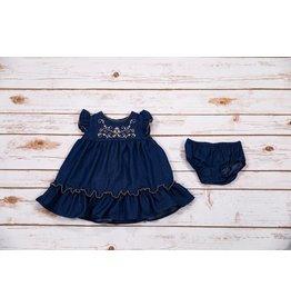 Bonnie Baby Chambray with Tan Embroidery Dress