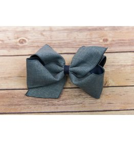 Wee Ones King Blue Jean Linen Bow