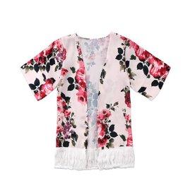 Pink Floral Silk Cardigan