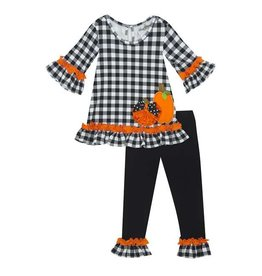 Rare Editions Black and White Checkered Set with Pumpkins