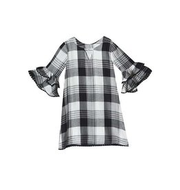 Rare Editions Black and White Plaid Shift Dress with Ruffle Sleeve