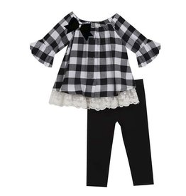 Rare Editions Black and White Checkered with Ruffle Sleeve Set