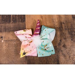 Teal/Pink/Yellow Unicorn Horn Bow