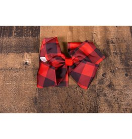 XL Red and Black Plaid Bow