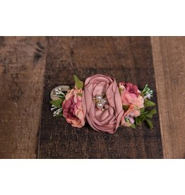 Mauve and Cranberry Faux Flower Headband