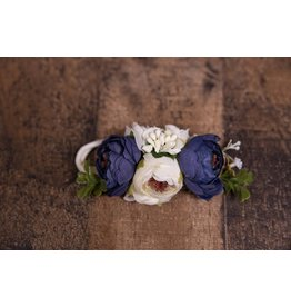 Navy and Ivory Faux Flower Headband