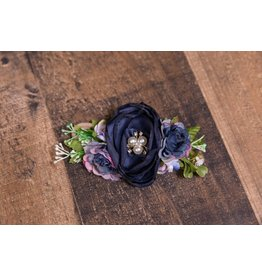 Navy and Lavender Faux Flower Headband