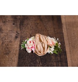Tan and Pink Faux Flower Headband