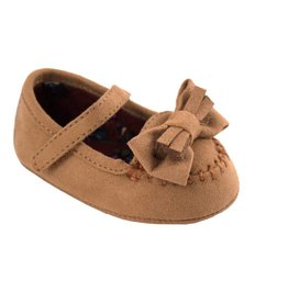Baby Deer Brown Bow Fringe Velcro Mocassins