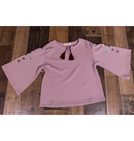Mae Li Rose Blush Embroidered Bell Top