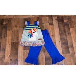 Millie Jay Unicorn Applique Ruffle Pantset