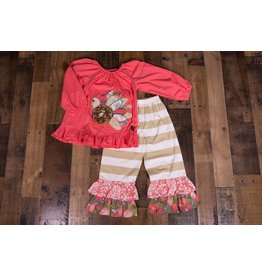 Millie Jay Coral Turkey Applique Ruffle Pantset