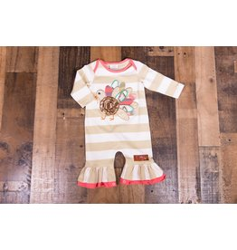 Millie Jay Turkey Applique Knit Romper
