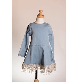 MLKids Denim Crochet Hem Dress