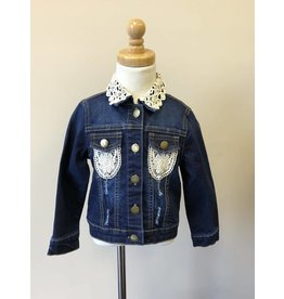 MLKids Dark Denim Jacket with Crochet Detail