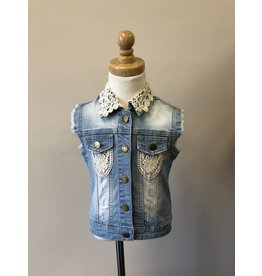 MLKids Light Denim Vest with Crochet Detail