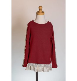 MLKids Maroon Lace Sleeve Skirted Tunic