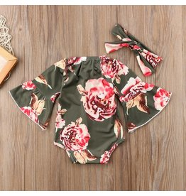 Olive Floral Bell Sleeve Romper and Headband