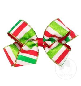 Wee Ones Medium Red, Green And White Striped Glitter