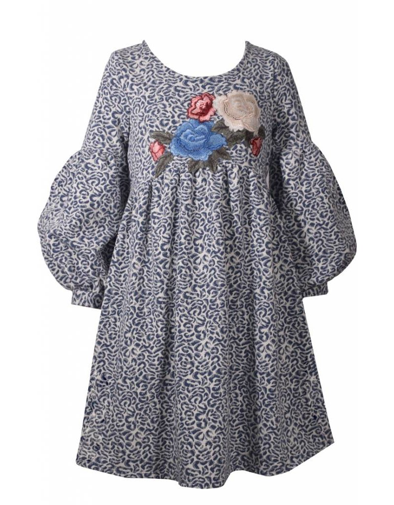 Blue and white leopard and floral print dress peek a bootique bonnie jean izmirmasajfo