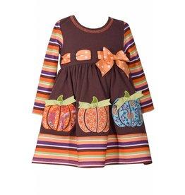 Bonnie Baby Multicolored Striped Pumpkin Dress