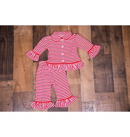 Be Mine Girls Red And White Striped Pj Set